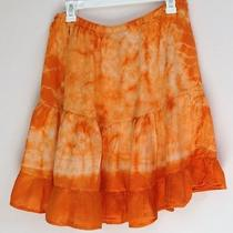 Tie Dye Skirt Ruffled Bottom Orange Basix Vintage Peasant Photo