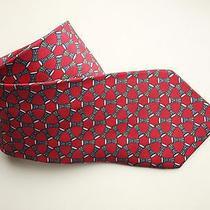 Tie Hermes Paris Made in France 7617 Ta 100% Silk Red Africa Drums Geometric Photo