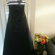 Tiffany Bling Long Evening Formal Prom Strapless Dress Black Satin White Detail Photo