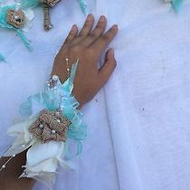 Tiffany Blue Burlap Lace Sha Babi Rustic Theme Wrist Corsage Prom Wedding Photo