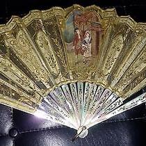 Tiffany & Co. 14k Gold Mother of Pearl Antique Hand Fan Photo