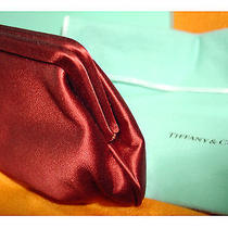 Tiffany & Co. Classic Audrey Hepburn Style Burgundy Satin Holly Clutch Garnet Photo