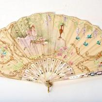 Tiffany & Co. Handpainted Silk and Mother of Pearl Fan Painted by A. Danne W/box Photo