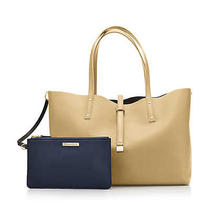 Tiffany & Co Heavy Leather Bag Tote Purse & Pouch in Navy / Camel  New reg.895 Photo