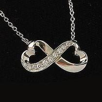 Tiffany Co. Paloma Picasso Double Heart Diamonds 18k White Gold Pendant Necklace Photo