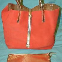 Tiffany & co.reversible Tote Bag Purse Suede Orange With Small Makeup Bag Photo