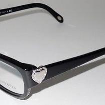 Tiffany & Co Shiny Black Eyeglass Frame 2065 a Silver Heart Hinge  Rhinestones Photo