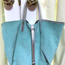 Tiffany & Co - Small Reversible Tote Bag Purse - in Blue Suede / Metallic Silver Photo