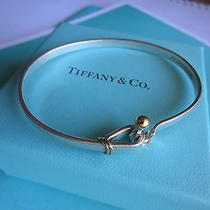 Tiffany & Co. Sterling Silver & 18k Gold Hook & Eye Bracelet W/ Tiffany Box Photo