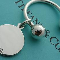 Tiffany & Co. Sterling Silver Round Tag Key Ring Key Chain Photo