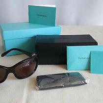 Tiffany & Co Sunglasses Brown Frame Silver Rhinestones Roman Nunerals Cert Guar Photo