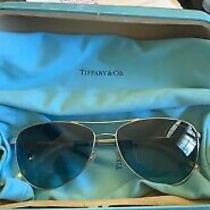 Tiffany & Co Tf 3044 6001/4s Blue Aviator Bow Style Sunglasses Authentic Italy Photo