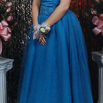 Tiffany Designs Turquoise Halter Ballgown Prom Dress Size 8 Photo
