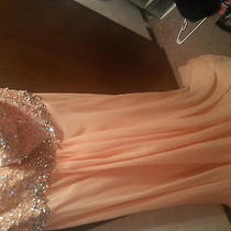 Tiffany Peach Sleeveless Prom Dress Size 18 Photo