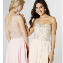 Tiffany Peyton Baby Pink One Sided Mesh Back Long Evening Gown Size 2 Bnwt Photo