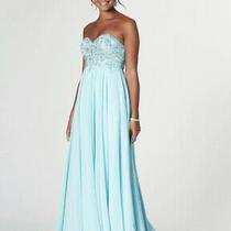 Tiffany Prom Rosella Size 4 Aqua Blue Long Dress Strapless Bnwt  Photo