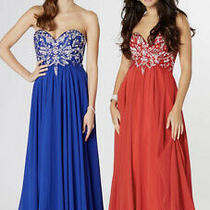 Tiffany Prom Rosella Size 4 Royal Blue Long Dress Strapless Bnwt  Photo