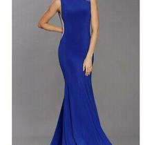 Tiffanys Brooke Long Evening Royal Blue Dress With Cut Out Detail Size 4 Bnwt  Photo