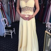 Tiffanys Elsa Long Evening Lemon Backless High Neck Sequin Dress Size 8 Bnwt Photo