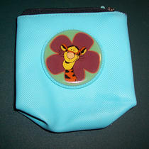 Tigger Light Blue / Aqua Zip Top Coin Purse 4 1/2