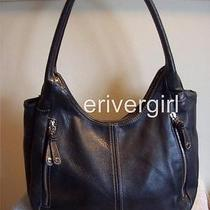 Tignanello Black Pebble Leather Hobo Bag W/front Zippers Photo