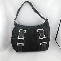 Tignanello Black Suede Leather Hobo Bucket Shoulder Bag Purse Retired Photo