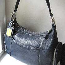 Tignanello Blue Pebbled Leather Hobo Shoulder Bag W Matching Key Ring Photo