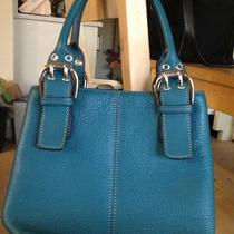 Tignanello Leather Tote Purse Blue Turquioise Small/ Medium Sized New W/o Tags Photo