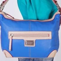 Tignanello Medium Blue Beige Leather Shoulder Hobo Tote Satchel Purse Bag Photo