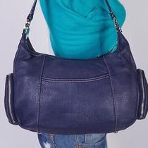 Tignanello Medium Blue Leather Shoulder Hobo Tote Satchel Purse Bag Photo