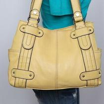 Tignanello Perfect 10 Med Lrg Yellow Leather Shouldr Hobo Tote Satchel Purse Bag Photo