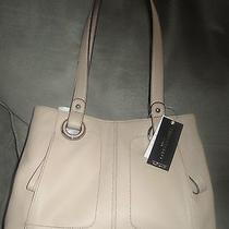 Tignanello Prep School Lg French Tote Genuine Leather Nwt 139 Creme Brulee Photo
