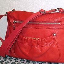Tignanello Salmon Pebbled Leather Satchel Tote Shopper Bag Shoulder Purse Photo