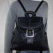 Tignanello Small Med Black Leather Shoulder Hobo Tote Slouch Backpack Purse Bag Photo