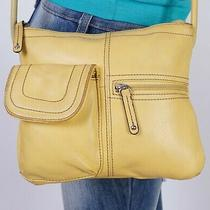 Tignanello  Small Yellow Leather Crossbody Shoulder Hobo Tote Satchel Purse Bag Photo
