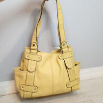 Tignanello Yellow Pebble Leather Double Handle Hobo Shoulder Bag Purse  Photo