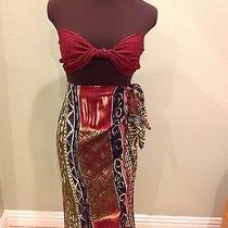 Tiki Sarong-- Ethnic Abstract--- Burgundy-- Green--- Skirt  Photo