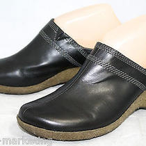 Timberland 61600 Women's 8m Black Leather Mules Gum Rubber Wedge Sole 5460  Photo