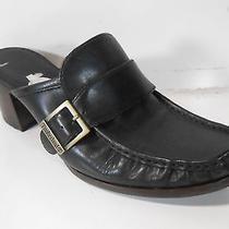Timberland Black Leather Mules Clogs Comforia Womens 7 M Heels Euc  Photo