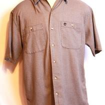 Timberland Blue and Tan Patterned Short Sleeve Button Down Pattern Shirt in Sz M Photo
