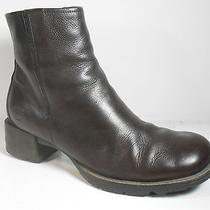Timberland Brown Leather Ankle Boots Zipper Womens 9.5 9  Rugged Traction Vguc Photo