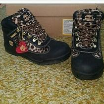 Timberland Cheetah Leopard Animal Print Heart Gold Boots Ankle Booties 3.5 Girls Photo
