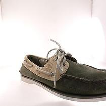 Timberland Cls 2 Eye Boat Men Green/tan Size 7.5 W Photo