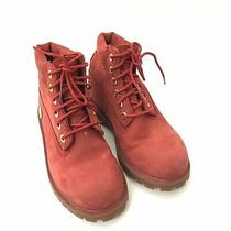 Timberland Kids Girls Boys Us 1 Red Lace Up Boots Suede Leather Winter Casual Photo