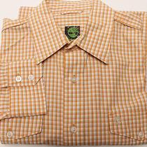 Timberland Men's Long Sleeve Shirt Sz M Medium Orange Check Photo