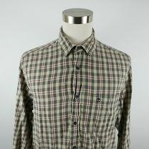 Timberland Mens Cotton Ls Button Down Gray Red Beige Plaid Casual Dress Shirt L Photo
