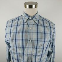 Timberland Mens Cotton Ls Button Down Light Blue Plaid Casual Dress Shirt Medium Photo