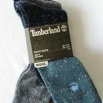 Timberland Mens Full Cushion Boot Socks Wool Blend Blue & Gray Osfm 2 Pair Photo