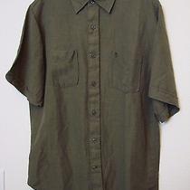 Timberland Mens S/s Green Linen Casual Shirt - Size Medium Photo