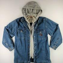 Timberland Pro Series Blue Denim Jean Gray Hooded Jacket Mens Size Medium Photo